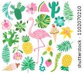 tropic summer vector set | Shutterstock .eps vector #1102070210