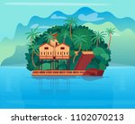 tropical island with bungalows... | Shutterstock .eps vector #1102070213
