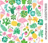 vector tropical summer seamless ... | Shutterstock .eps vector #1102070303