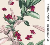 seamless pattern with tropical... | Shutterstock .eps vector #1102070813
