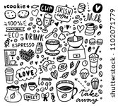coffee doodle set. cute coffee... | Shutterstock .eps vector #1102071779