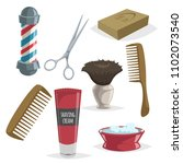 cute cartoon barber accessories ... | Shutterstock .eps vector #1102073540
