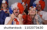 crowd of french supporters... | Shutterstock . vector #1102073630