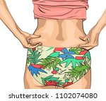 the girl clamps the folds of... | Shutterstock .eps vector #1102074080