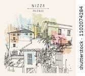 old houses in nizza  nice  ...   Shutterstock .eps vector #1102074284