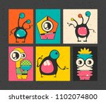 set of six retro postage s... | Shutterstock .eps vector #1102074800