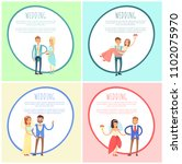happy newlywed couples composed ... | Shutterstock .eps vector #1102075970