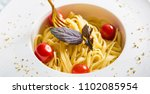 traditional italian pasta with... | Shutterstock . vector #1102085954
