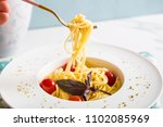 traditional italian pasta with... | Shutterstock . vector #1102085969
