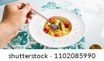 traditional italian pasta with... | Shutterstock . vector #1102085990