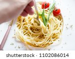 traditional italian pasta with... | Shutterstock . vector #1102086014