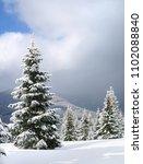 winter landscape of mountains... | Shutterstock . vector #1102088840