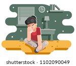 sad suffer girl female cry... | Shutterstock .eps vector #1102090049