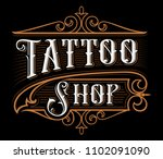 tattoo shop logo template.... | Shutterstock .eps vector #1102091090