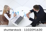 two employees discussing... | Shutterstock . vector #1102091630