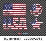 set of usa symbols. lettering ... | Shutterstock .eps vector #1102092053