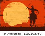 silhouette of samurai riding... | Shutterstock .eps vector #1102103750
