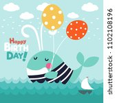 cute funny whale with stripped... | Shutterstock .eps vector #1102108196