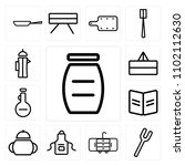 set of 13 icons such as jar ...