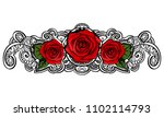 red roses contour line art... | Shutterstock .eps vector #1102114793
