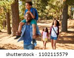 family on hiking adventure... | Shutterstock . vector #1102115579