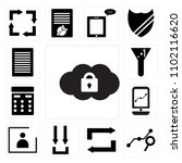 set of 13 icons such as cloude...