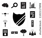 set of 13 icons such as  cloude ...