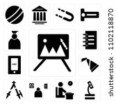 set of 13 icons such as easel ...