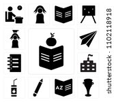 set of 13 icons such as books ...