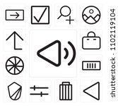 set of 13 icons such as volume  ...