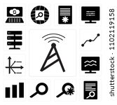 set of 13 icons such as  chart  ...