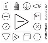 set of 13 icons such as play ...
