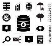 set of 13 icons such as server...