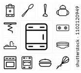 set of 13 icons such as freezer ...
