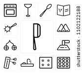 set of 13 icons such as cleaver ...