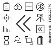 set of 13 icons such as left...