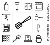 set of 13 icons such as spatula ...