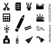 set of 13 icons such as pencil  ...