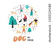 Stock vector people training dogs in the park dog doodle characters walking outside with pets vector 1102124180