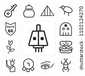 set of 13 icons such as lamp ...
