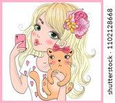 hand drawn beautiful cute...   Shutterstock .eps vector #1102128668