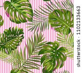 tropical palm leaves seamless... | Shutterstock .eps vector #1102133663