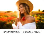 smiling cheerful long haired... | Shutterstock . vector #1102137023