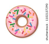 donut with pink glaze  doughnut ... | Shutterstock .eps vector #1102137290