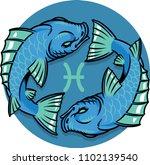 illustration of pisces zodiac... | Shutterstock .eps vector #1102139540
