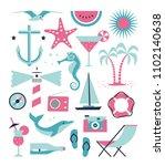 vector sea set. flat... | Shutterstock .eps vector #1102140638