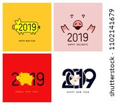 happy new year. set of cute... | Shutterstock .eps vector #1102141679