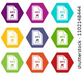 file mp3 icon set many color... | Shutterstock . vector #1102148444