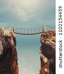 old bridge over between two big ... | Shutterstock . vector #1102154459