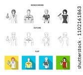 woman chemist  football player  ... | Shutterstock .eps vector #1102161863